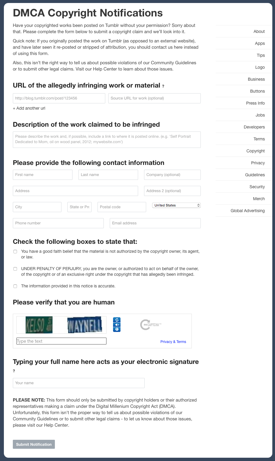 DMCA Copyright Notifications | Tumblr